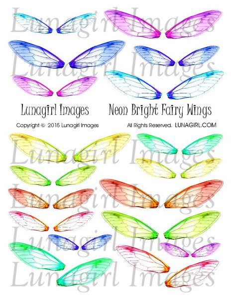 Neon Bright Fairy Wings Digital Collage Sheet - Lunagirl