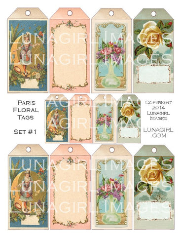 Paris Floral Tags Set #1 Digital Collage Sheet - Lunagirl