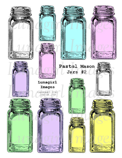 Pastel Mason Jars #2 Digital Collage Sheet - Lunagirl