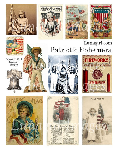 Patriotic Ephemera Digital Collage Sheet - Lunagirl