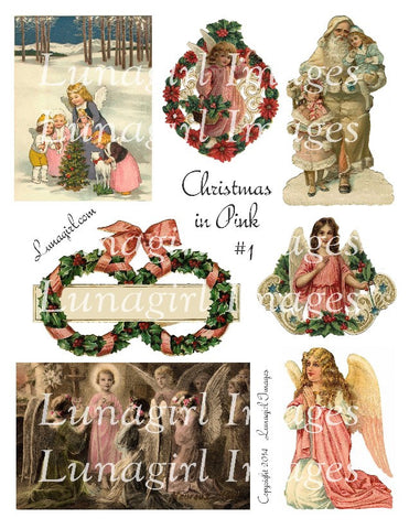 Pink Christmas #1 Digital Collage Sheet - Lunagirl