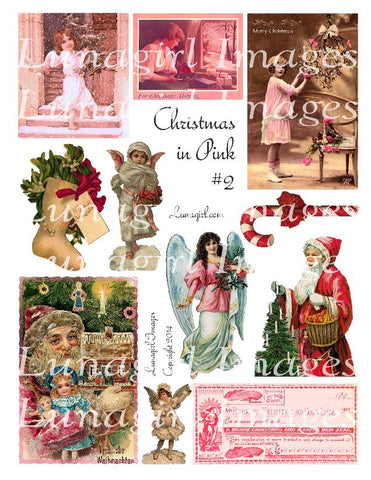 Pink Christmas #2 Digital Collage Sheet - Lunagirl