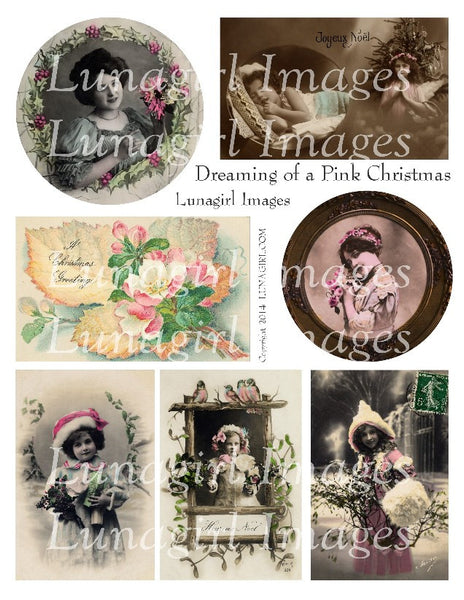 Dreaming of a Pink Christmas Digital Collage Sheet - Lunagirl