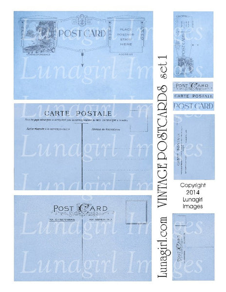 Vintage Postcards Digital Collage Sheet #1 in Indigo Blue - Lunagirl