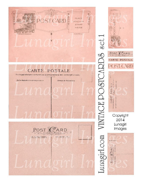 Vintage Postcards Digital Collage Sheet #1 in Peach - Lunagirl