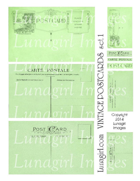 Vintage Postcards Digital Collage Sheet #1 in Spring Green