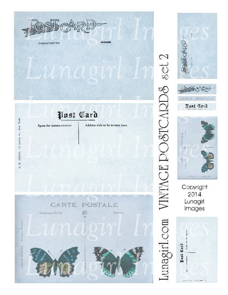 Vintage Postcards Digital Collage Sheet #2 in Soft Blue - Lunagirl