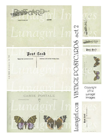 Vintage Postcards Digital Collage Sheet #2 in Garden Green - Lunagirl