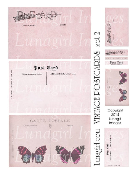 Vintage Postcards Digital Collage Sheet #2 in Pink - Lunagirl