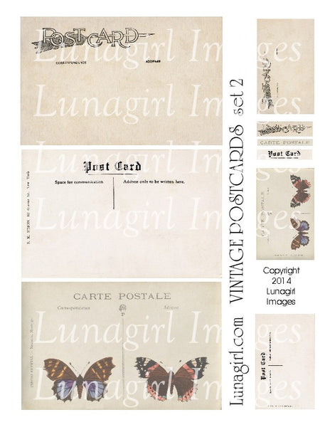 Vintage Postcards Digital Collage Sheet #2 Flutterbys - Lunagirl