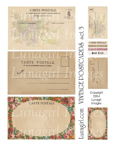Vintage Postcards Digital Collage Sheet #3 - Lunagirl