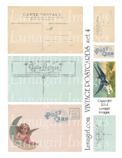 Vintage Postcards Digital Collage Sheet #4 - Lunagirl