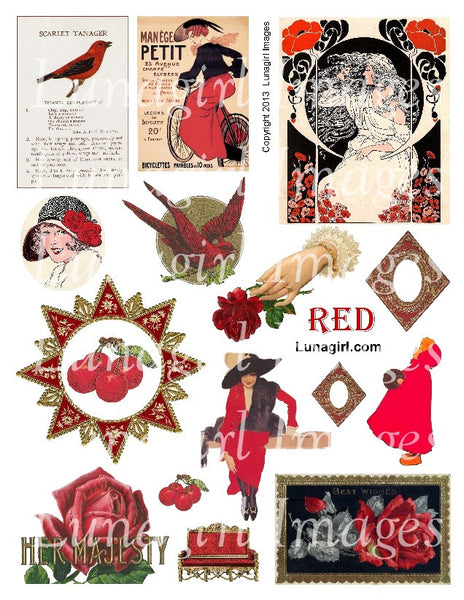 Red Digital Collage Sheet - Lunagirl