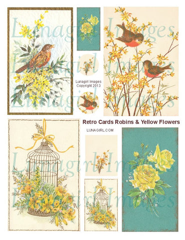Retro Cards Robins & Yellow Flowers Digital Collage Sheet - Lunagirl