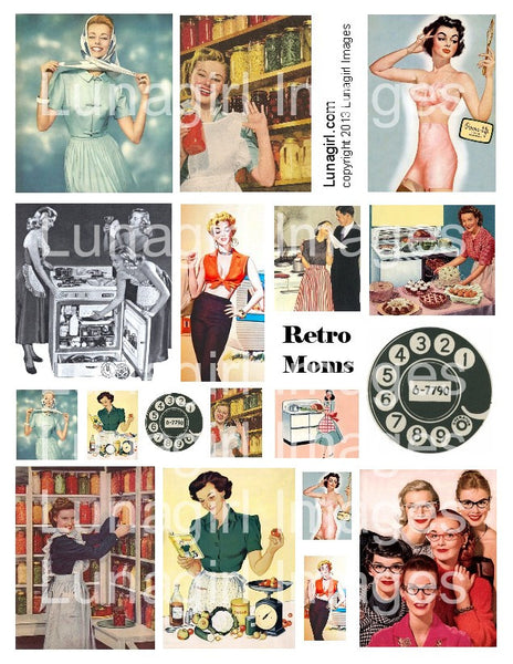 Retro Moms Digital Collage Sheet - Lunagirl