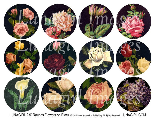 "Flowers on Black 2.5"" Rounds Digital Collage Sheet - Lunagirl"