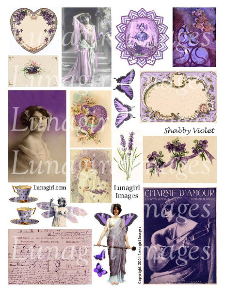 Shabby Violet Purple Digital Collage Sheet - Lunagirl