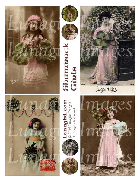 Shamrock Girls Digital Collage Sheet - Lunagirl