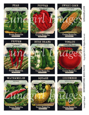 Summertime Seed Packs Digital Collage Sheet - Lunagirl
