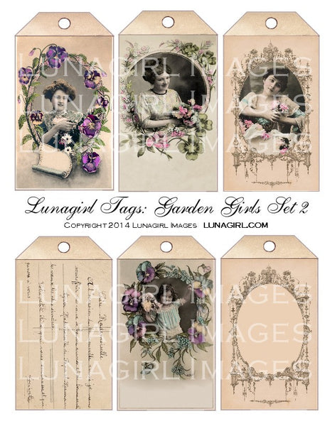 Tags: Garden Girls Set #2 Digital Collage Sheet - Lunagirl