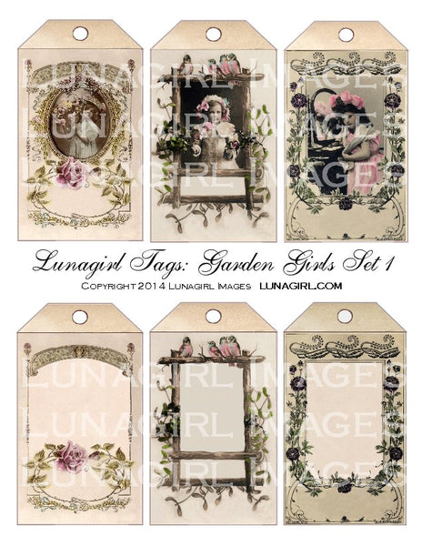 Tags: Garden Girls Set #1 Digital Collage Sheet - Lunagirl