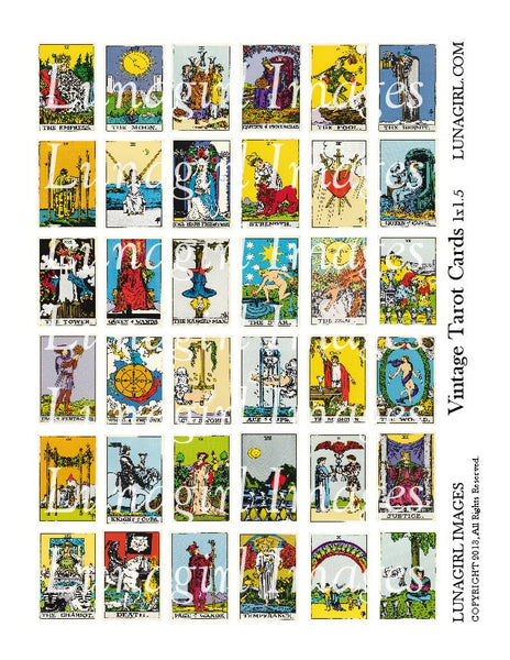 Vintage Tarot Cards 1 x 1.5 Digital Collage Sheet - Lunagirl