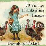 70 Vintage Thanksgiving Images Download Pack - Lunagirl