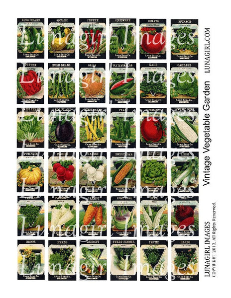 "Vintage Vegetable Garden 1x1.5"" Digital Collage Sheet - Lunagirl"