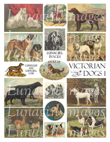 Victorian Dogs #1 Digital Collage Sheet - Lunagirl