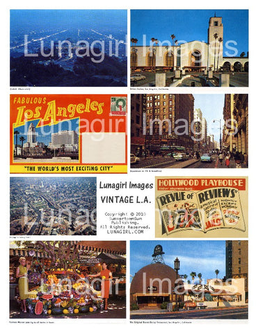 vintage retro postcards Los Angeles digital images download collage sheet photos