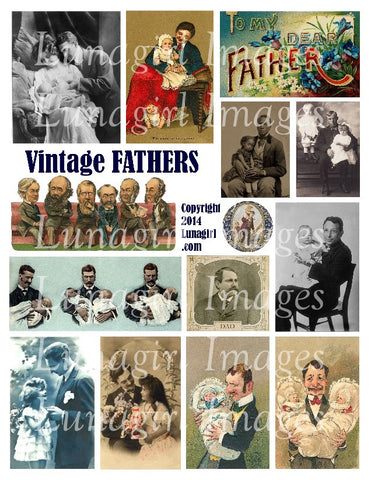 Vintage Fathers Digital Collage Sheet - Lunagirl