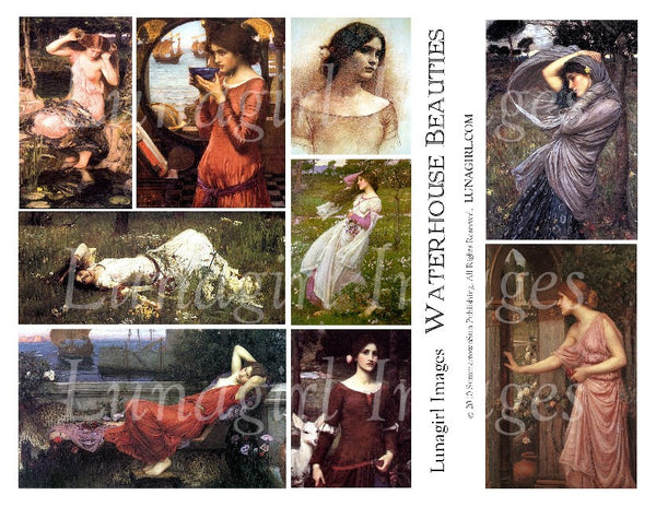 Waterhouse Beauties Digital Collage Sheet - Lunagirl