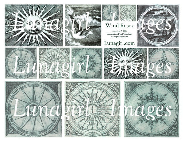 Wind Roses Compasses (Turquoise) Digital Collage Sheet - Lunagirl