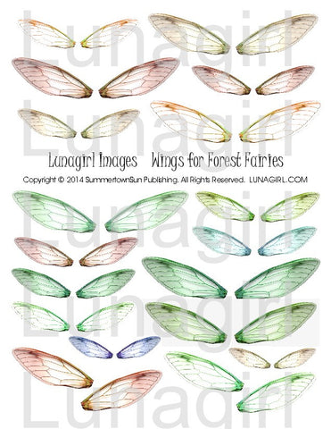 Wings for Forest Fairies Digital Collage Sheet - Lunagirl
