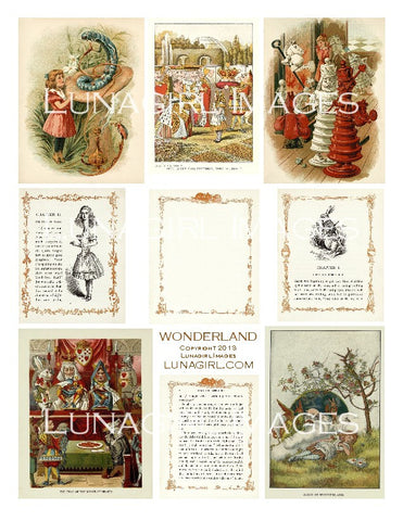 Wonderland (Vintage Alice) Digital Collage Sheet - Lunagirl