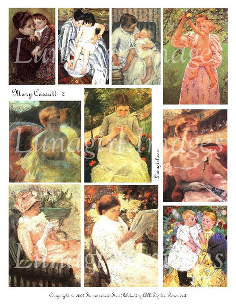 Mary Cassatt #2 Digital Collage Sheet - Lunagirl
