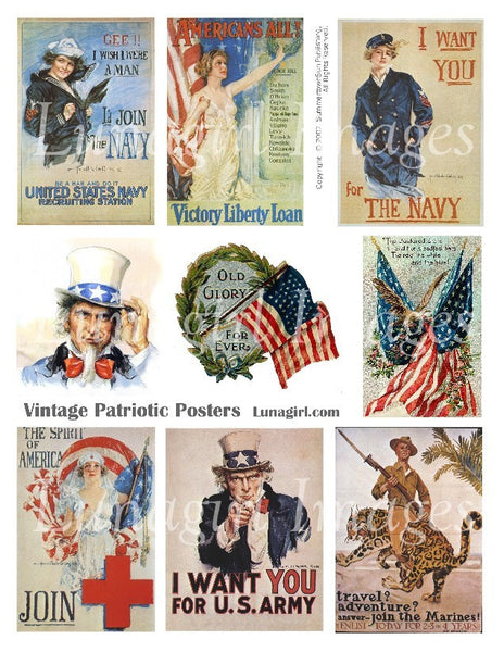 Patriotic Posters Digital Collage Sheet - Lunagirl