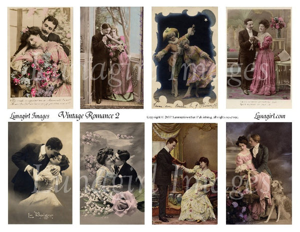 Vintage Romance #2 Digital Collage Sheet - Lunagirl