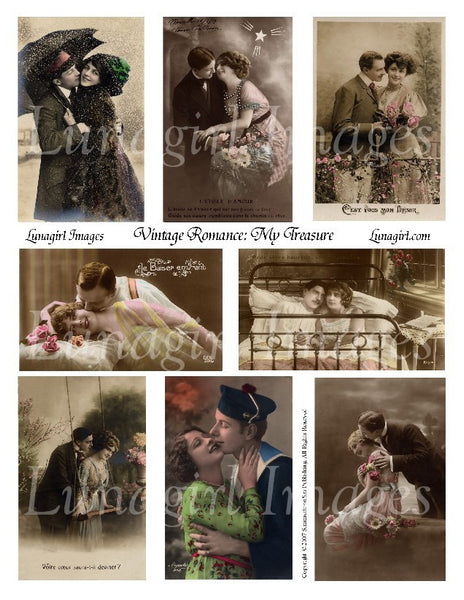 Vintage Romance #1: My Treasure Digital Collage Sheet - Lunagirl