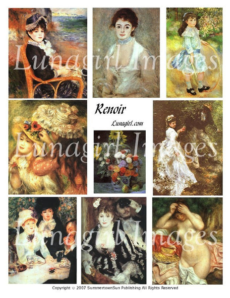 Renoir Digital Collage Sheet - Lunagirl