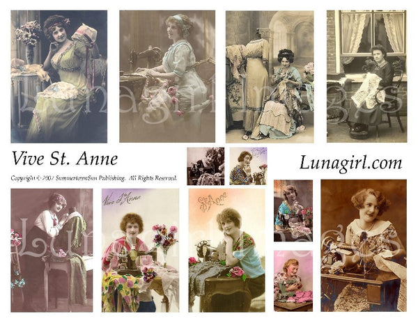 Vive St Anne Sewing Ladies Digital Collage Sheet - Lunagirl