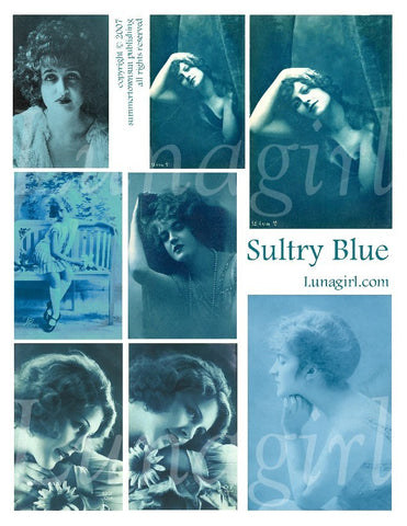 Sultry Blue Digital Collage Sheet - Lunagirl