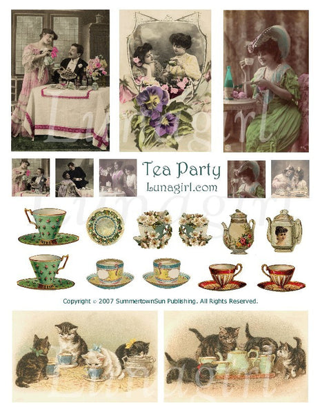 Tea Party Digital Collage Sheet - Lunagirl