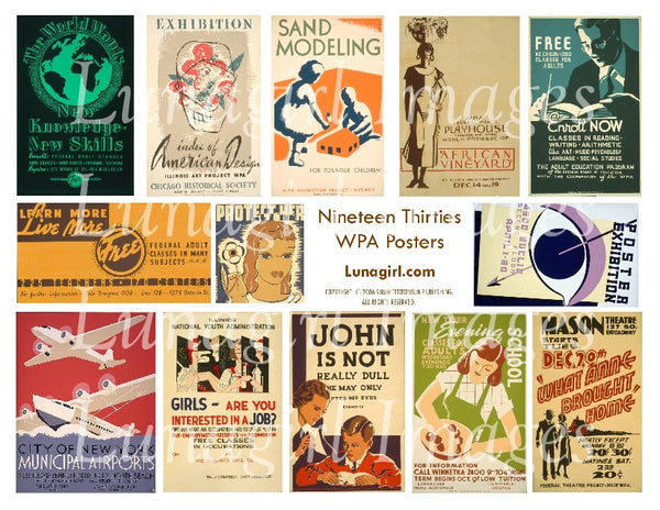 WPA Posters 1930s Digital Collage Sheet - Lunagirl