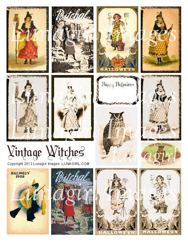 Vintage Witches Digital Collage Sheet - Lunagirl