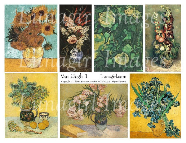 Van Gogh #1 (Flowers) Digital Collage Sheet - Lunagirl