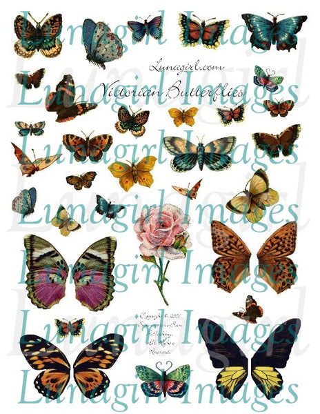 Victorian Butterflies Digital Collage Sheet - Lunagirl