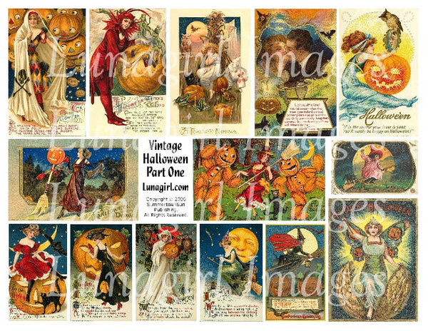 vintage Halloween postcards digital collage sheet download printable cards tags Victorian witches