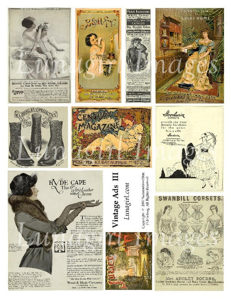 Vintage Ads #3 Digital Collage Sheet - Lunagirl