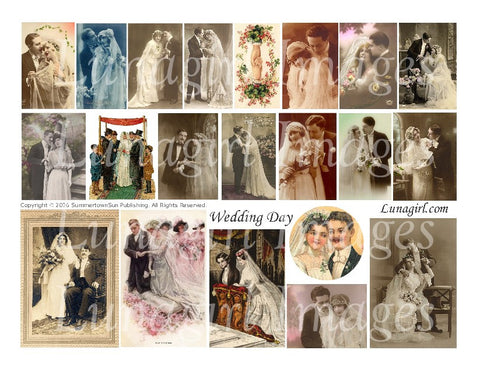 Wedding Day Digital Collage Sheet - Lunagirl